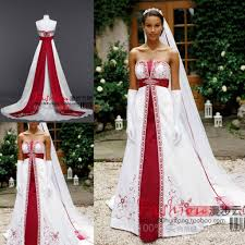 strapless sleeveless 2016 red and white wedding dresses stain lace