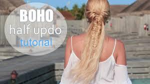 cute summer hairstyle for medium long hair boho chic half up