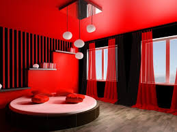 red white and black bedrooms vertical wooden paneling minimalist