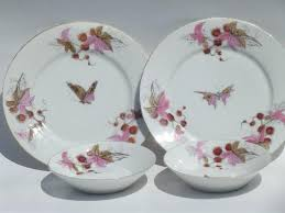 antique china plates and bowls butterfly moth and chestnut