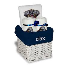 new orleans gift baskets white new orleans pelicans personalized small gift basket new