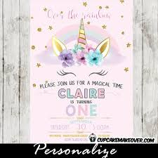 10 best unicorn birthday invitations diy party ideas images on