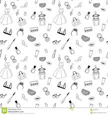 hand drawn fashion seamless pattern for coloring pages stock