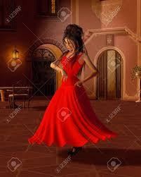 illustration of a young flamenco dancer in a red dress dancing