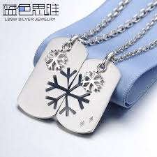 personalized sterling silver jewelry blue sweet necklaces snowflake puzzle dog tag necklaces