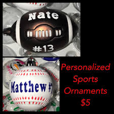 personalized sports ornaments ornament football or baseball