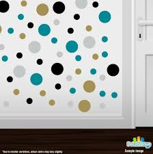 black metallic gold turquoise light grey polka dot circles