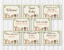 baby shower signs woodland animal baby shower party signs woodland baby shower 8