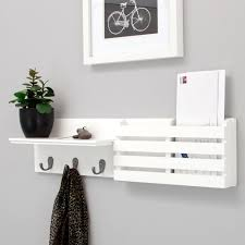 Key Holder Wall White Color Modern Wood Wall Mail Organizer And Key Holder Plus