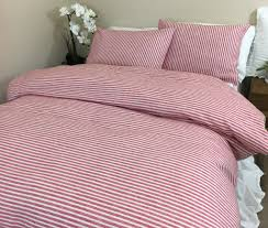 Red Duvet Set Red And White Striped Duvet Cover Natural Linen Custom Size