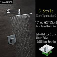 In Wall Bathroom Faucets Shipping Chrome In Wall Embedded Box Shower Set Bath Faucet