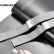 black mesh bracelet images Chimaera 18mm 20mm 22mm 24mm silver black rose gold stainless jpg