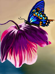 pink flower and butterfly a plants speedpaint drawing by