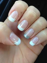 gel french tip with silver glitter accent nail yelp