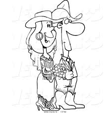 vector of a cartoon western wedding couple coloring page outline