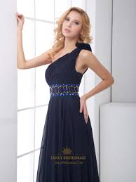 navy blue chiffon one shoulder rhinestone prom dress with flower