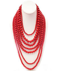 multi layered beaded necklace images Red multi strand long layered bead necklace my georgia peach jpg