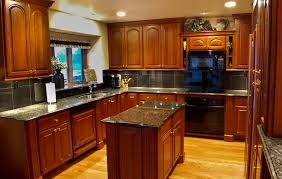 brown varnished wood range hood natural cherry kitchen cabinets