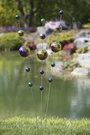 Gazing Ball Fountain Gazing Ball Stake In Iridescent Colors Garden Art