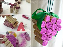 diy wine cork grape ornaments hip2save