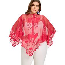 see thru blouse zaful plus size skeleton embroidery lace see thru poncho blouse