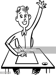 Picture Of Student Sitting At Desk A Student Sitting At His Desk With His Hand Up Stock Illustration