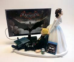 funny wedding cake topper video game bat man bride and groom