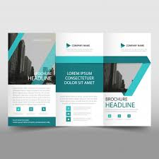 abstract turquoise trifold business brochure template vector