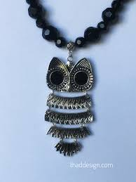 black beaded pendant necklace images Black beaded owl necklace thad design jpg