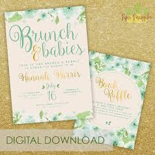 baby brunch invitations brunch babies baby shower invitation mint and gold baby brunch