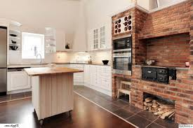 kitchen interesting brick face kitchen island with butcher block