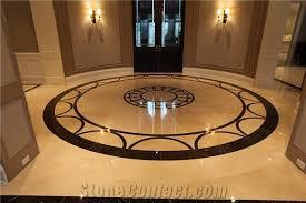 cnc waterjet floor medallions crema marfil beige marble floor