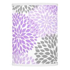 Lavender Decor Modern Lavender Gray Dahlia Floral Decor Purple Lamp Shade