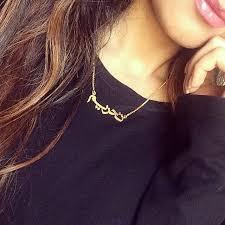 arabic nameplate necklace 14k gold arabic name necklace klassiq