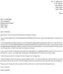 examples of cover letters maintenance cover letter examples