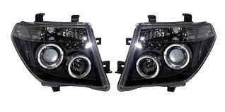 black nissan pathfinder nissan pathfinder r51 navara d40 05 10 black angel eye headlights