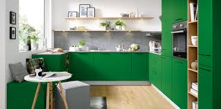 kitchens with shelves green biella l485 moss green satin for a bold colourful kitchen schuller
