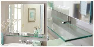 Frameless Bathroom Mirror Standard Frameless Bathroom Mirror With Shelf View Bathroom