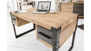 bureau industriel metal bois bureau élégant au style industriel avec 4 tiroirs très pratiques