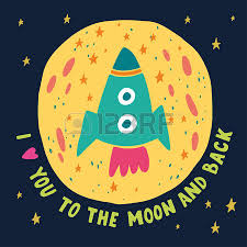 i love you to the moon and back hand drawn poster with a romantic
