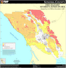 California Zip Code by Cal Fire Sonoma County Fhsz Map