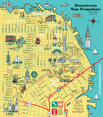 San Francisco Bay Map by Map Of Downtown San Francisco With Pictorial Illustrations