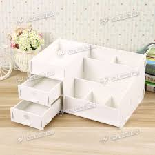 new make up storage wooden desk organiser acrylic drawers white
