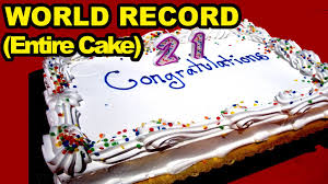 birthday cake eating world record entire cake youtube