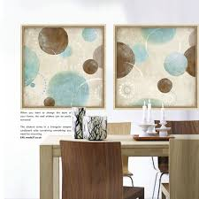 light blue wall art light blue beige and brown circles modern abstract painting canvas