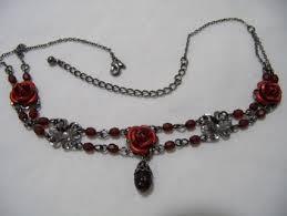 rose choker necklace images Free vintage avon red black rose choker necklace necklaces jpg