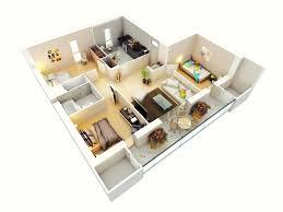 more bedroom d floor plans ideas bhk 3 flat 3d of bed artelsv com