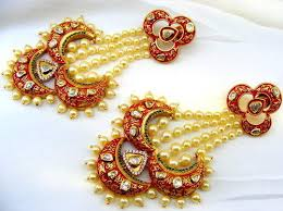 jhumki style earrings in gold kumar jewels gorgeous look gold plated kundan pearl jhumar style
