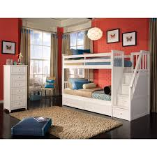 bedroom wooden bunk beds with stairs plus drawers and bookcase