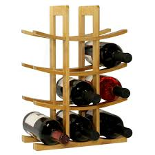 12 bottle wine rack modern asian style in natural bamboo